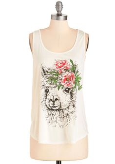 Boho Se Llama? Tank - Mid-length, Jersey, Sheer, Knit, White, Multi, Print with Animals, Casual, Boho, Quirky, Festival, Sleeveless, Summer, Scoop