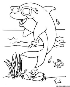Dolphin Coloring Pages, Fish Coloring Page, Coloring Pages To Print, Printable Coloring Pages, Coloring Sheets, Adult Coloring, Coloring Books, Easy Fish Drawing, Fish Drawings