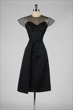 1950's Black Bodice Illusion Dress