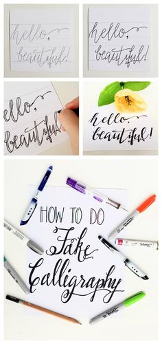 How to Do Fake Calligraphy is part of How To Create Fake Calligraphy Tutorial Practice Worksheets - Not ready to do dip pen calligraphy or want a new method of handlettering Fake calligraphy is easy and you probably already have everything you need! Hand Lettering Tutorial, Hand Lettering Fonts, Creative Lettering, Brush Lettering, Lettering Styles, Monogram Fonts, Script Fonts, Decorative Lettering, Monogram Letters