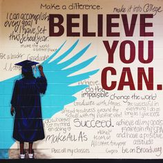 High School Mural: Believe You Can Mural at Pebblebrook High School by Paint Love Artists Lindsay RydenMural at Pebblebrook High School by Paint Love Artists Lindsay Ryden School Hallways, School Murals, School Hallway Decorations, Hallway Decorating, Hallway Ideas, Decorating Ideas, School Bathroom, School Painting, School Leadership