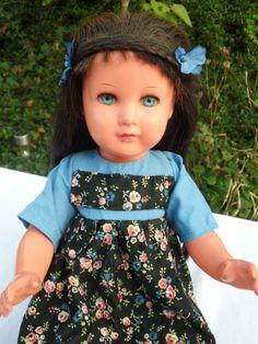 Alte Schildkröt Puppe, SiR 43, blaue Augen, schwarze Haare, 43 cm groß | eBay