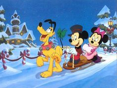"""Mickey, Minnie & Pluto traveling in the snow.  They starred in """"Mickey's Once Upon a Christmas"""""""