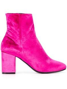 cbb7e0243f2 Balenciaga Pink Velvet Ville 85 Boots - Farfetch