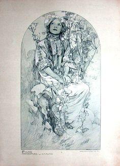 Výsledek obrázku pro alfons mucha drawings