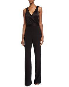 Layana Sleeveless Combo Jumpsuit, Black by Diane von Furstenberg at Neiman Marcus.