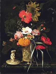 """""""Still Life with Flowers in a Decorative Vase"""" (c. 1670–75) Maria van Oosterwijck, Mauritshuis."""