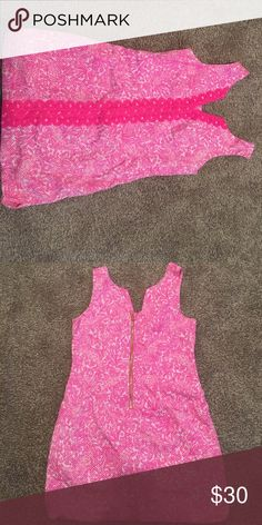 Lilly Pulitzer hot pink dress Adorable Lilly spring dress! Only worn once! Fun pineapple zipper on the back. Flattering on! Lilly Pulitzer Dresses