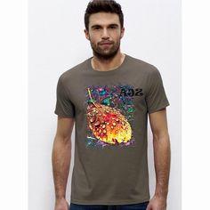 Sehr schönes men T-Shirt mit einem schicken Herbstblatt auf der Brust.  Damit bist Du der absolute Hingucker auf der nächsten Party! Das Shirt hat einem Rundhalsausschnitt in 1x1-Rippstrick mit Nackenband Schmale Doppelnähte an Ärmeln und Saum und besteht aus  Single Jersey 100 % ringgesponnene, gekämmte Bio-Baumwolle 155 g/m². Natürlich mit dem bekannten Nackenlogo im Rücken. Bitte beachten Sie die Pflegehinweise auf www.ajz-shirts.de.