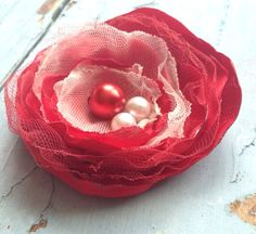 Red Fabric Flower Hair Bow Red Flower Girl by RhysandRaesCreations