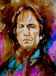 Beautiful portrait of Alan Rickman. It's a shame I can't tell who the artist is/was.