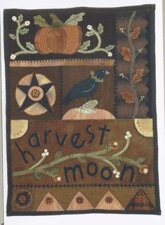 Harvest Moon (H2H) - Wool Applique Wall Hanging
