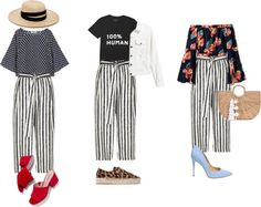 Trendy by Tyana 2: Stripe Print Culottes - 3 Outfits
