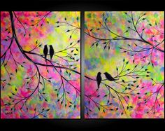 Large Abstract Love Birds in Tree Painting Contemporary Modern Silhouette Rainbow Colors Two Canvas Diptych 18x48 by JMichael