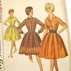 Vintage Sewing Pattern Early 1960s Full Skirt by SelvedgeShop