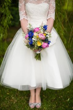 Ellis Bridals Tea Length Dress Gown Lace Vintage Style Bride Colourful Happy Home Made Countryside Barn Wedding Hertfordshire http://www.binkynixon.com/