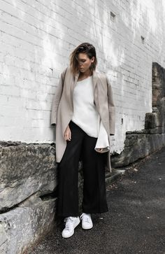 Adidas Stan Smith, street style, asymmetric shoulder knit, bell sleeve, camel coat, transitional outfit, fashion blogger, modern legacy