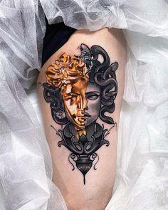 Gold Tattoo Ink, Brown Tattoo Ink, I Tattoo, Medusa Tattoo Design, Tattoo Designs, Tattoo Ideas, Time Tattoos, Body Art Tattoos, Tatoos