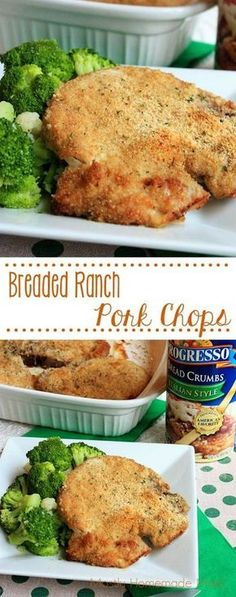 Breaded Ranch Pork Chops - Juicy, baked pork chops coated in ranch dressing, Italian bread crumbs, and Parmesan cheese. A quick & easy comfort-food dinner! #ad