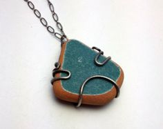Teal Beach Pottery Necklace, Ceramic and Silver Necklace, Oxidized Silver Jewelry, Boho Beach Jewelry
