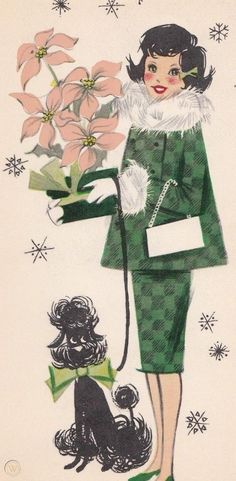 Pretty Fancy Lady With Poodle, Poinsettia, Vintage Christmas Greeting Card!Card Is Unused & In Very Good Vintage Condition!Comes With Vintage Enve. Christmas Card Images, Vintage Christmas Images, Retro Christmas, Christmas Dog, Christmas Greetings, Christmas Clipart, Christmas Printables, Vintage Images, Xmas