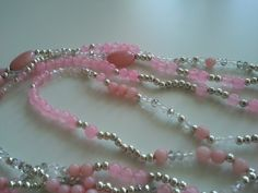 #DIY pink silver #bead necklace #gemstone #necklace