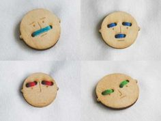 buttons that can be made to display a range of emotions with carefully thought out thread