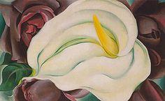 Georgia O'Keeffe. L K White Calla And Roses 1926