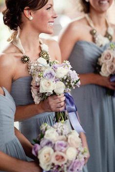 Grey bridesmaids with statement neckless and beautiful bouquets. Photography by sedonabride.com  Read more - http://www.stylemepretty.com/2012/05/07/snowy-sedona-wedding-from-sedona-bride-photographers/