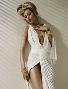 goddess dress, and gold band cuffs. Only hair much softer half up half down in soft curls.