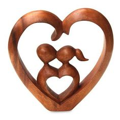 Hand Carved Heart Sculpture - Story of Love | NOVICA