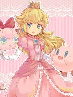 Pink Fighters by doublejoker00.deviantart.com on @deviantART Peach, Jigglypuff and Kirby