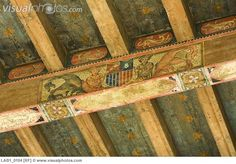 Detail hand painted ceiling beams Painted Ceiling Beams, Ceiling Painting, Ceiling Detail, Ceiling Design, Ceiling Ideas, Fantasy Bedroom, Tudor Style Homes, Tent Decorations, Paint Designs
