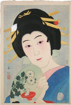 Natori Shunsen (1886-1960): Creative Prints, Collected Portraits of Shunsen: (Supplement) Actor Ogami Baiko VI as Aburaya Okon, woodblock print, ca. 1929-34.