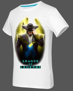 Plus size League of Legends t shirt short sleeve for boys Twisted Fate white tee-