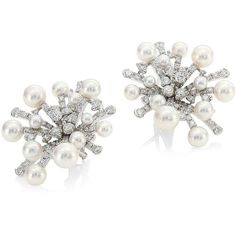 Mikimoto Splash Diamond, 6.5MM Pearl & 18K White Gold Earrings (257.354.935 IDR) ❤ liked on Polyvore featuring jewelry, earrings, 18k diamond earrings, diamond jewellery, white gold pearl earrings, earrings fine jewelry and pearl diamond earrings