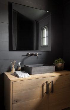 Design by Tribe Design Group- Austin, TX Black Vanity Bathroom, Shiplap Bathroom, Bathroom Renos, Modern Bathroom, Black Bathroom Decor, Dark Bathrooms, Beautiful Bathrooms, Vanity Design, Bath Design