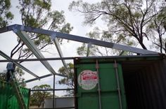 shipping container shed close look at steel frame