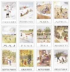 Elsa Beskow, The Calendar - Around The Year Elsa Beskow, Vintage Images, Vintage Art, Nature Table, Months In A Year, Book Illustration, Christmas Art, Watercolor Art, Illustrators