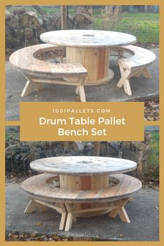 The Drum Table Pallet Bench Set is made from a large drum that I dismantled. I cut part of one side off to create the foot of the table, but turned 1001 Pallets, Wooden Pallets, Recycled Pallets, Pallet Benches, Pallet Couch, Pallet Tables, Pallet Bar, Cable Reel Table, Cable Spool Tables