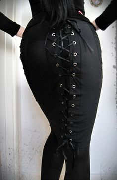 laced up skirt and bodice. Very Goth girl
