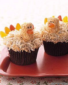 Cute Thanksgiving Desserts That Guests Will Gobble Up   Martha Stewart - Who would ever think there would be turkey on the dessert table? These chocolate buttercream cupcakes are decorated to look like beady-eyed feathered birds.