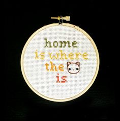 Home is Where the Cat is / embroidered cross stitch by meowadays - crazy cat lady, embroidery, stitching, wall decor