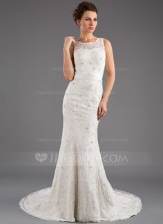 Trumpet/Mermaid Scoop Neck Court Train Satin Lace Wedding Dress With Beading Sequins Bow(s) (002035872) - JJsHouse