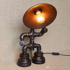 Vintage Water Table Lamps Water Pipe Table Lamp Edison Light Bulb Lamp Retro Iron Pipe with Iron Shade Loft Bar Cafe Table Lamp