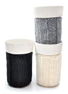 Cups with Knitting