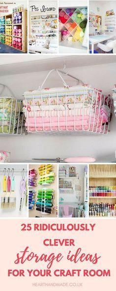 If you're in need of craft storage ideas for your craft room then this list is exactly what you need to read! This post has small space craft storage ideas galore, for utilizing every inch of available space in your craft room storage Craft Room Storage, Sewing Room Storage, Sewing Room Organization, Fabric Storage, Organization Ideas, Bedroom Storage, Craftroom Storage Ideas, Storage Baskets, Organizing Drawers