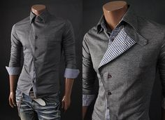 Foldable Checkered Patch Casual Dress Shirt  www.jhlstyle.com