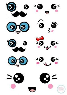 16 Ideas Drawing Kawaii Facial Expressions For 2019 Arte Do Kawaii, Kawaii Diy, Kawaii Crafts, Kawaii Room, Kawaii Drawings, Easy Drawings, Doodle Art, Doodles Kawaii, Diy And Crafts