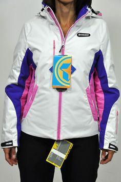 """Colmar Giacca donna sci col. bianco con dettagli in rosa e viola. Tessuto """"Duo ran"""" idrorepellente, impermeabile, antivento, termico."""